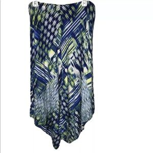 Chico's 2 Abstract Ikat Asymmetrical Skirt L Midi